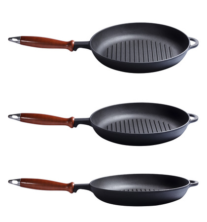 Frying cast-iron grill pan skillet isolated on white background Stock Photo