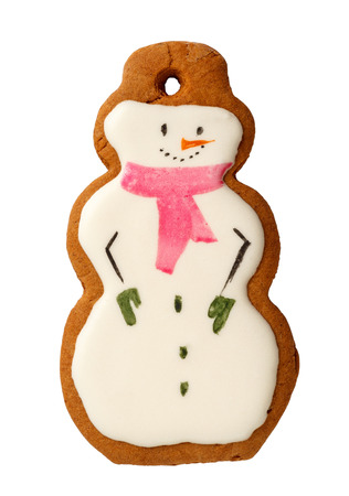Traditional Iced Gingerbread Christmas Cookies Snowmen Isolated on white Stock Photo
