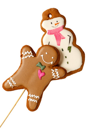Traditional Gingerbread Christmas Cookies Man with Snowmen Stock Photo