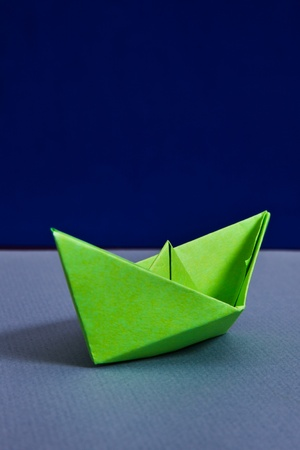 Green paper boat photo