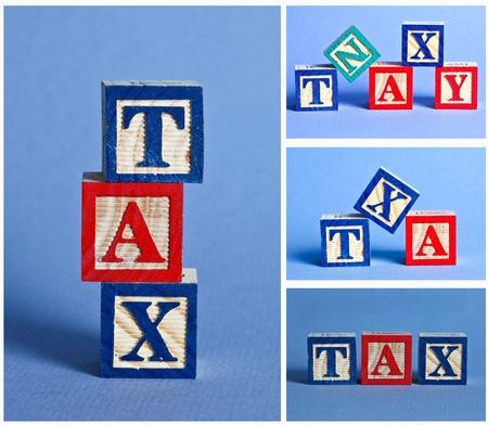 Wooden tax blocks Imagens - 13404723