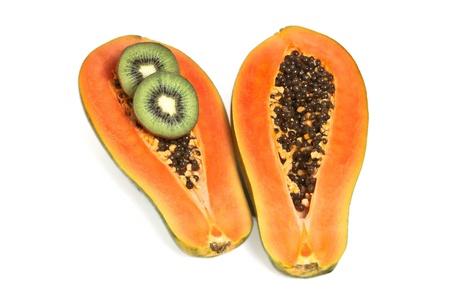 Half cut papaya with two  kiwi slice on white background Stock Photo - 13865308