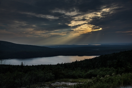 Sunset from Cadillac Mountain in Maine photo