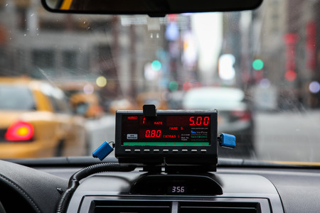NEW YORK - FEBRUARY 16:  View from cab with meter display in New York on February 16, 2015. Editorial