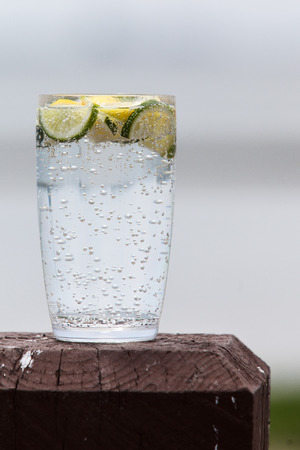 sparkling water: Sparkling water with lemon and lime