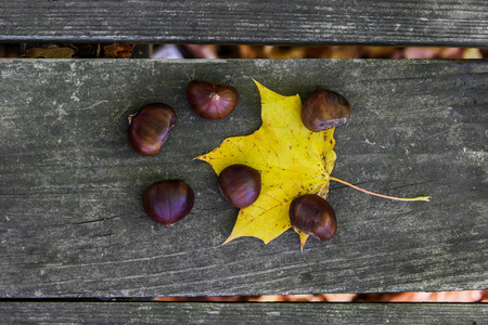 Chestnuts outside on wooden table with leaf