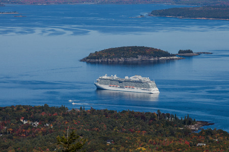 BAR HARBOR- OCTOBER 11 : Regal Princess view from Cadilacv Mountain  a Royal-class cruise ship operated by Princess Cruises is docking in Bar Harbor, USA on October 11, 2016