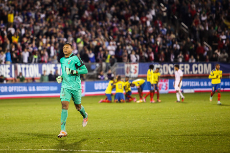 maximo: HARTFORD - OCTOBER 10: Maximo Banguera 1 after ecuadorian goal on US International Friendly match between US Men s National Team vs Ecuador, on October 10, 2014, in Rentschler Field stadium, Hartford, USA. Editorial