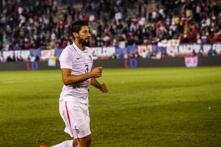 HARTFORD - OCTOBER 10: Omar Gonzalez number 3 after match on US International Friendly match between US Men s National Team vs Ecuador, on October 10, 2014, in Rentschler Field stadium, Hartford, USA. Banco de Imagens - 73981552
