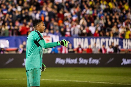 EAST HARTFORD, CT - OCTOBER 10:  Maximo Banguera of Ecuador reacts after a save against the United States during an international friendly at Rentschler Field on October 10, 2014 in East Hartford, Connecticut