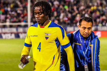 HARTFORD - OCTOBER 10: Ecuadorian player Juan Carlos Parades at US International Friendly match between US Men s National Team vs Ecuador, on October 10, 2014, in Rentschler Field stadium, Hartford, USA.