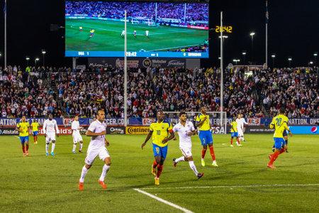 HARTFORD - OCTOBER 10: Landon Donovan 10 Ecuadorian player Walter Ayovi 10 DeAndre Yedlin 2 Frickson Erazo 3 on US International Friendly match between US Men s National Team vs Ecuador, on October 10, 2014, in Rentschler Field stadium, Hartford, USA.