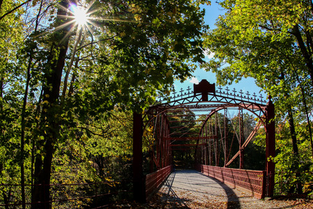 NEW MILFORD - OCTOBER 17:  Metal Falls Bridge completed 1895 located in Lover`s Leap State Park on October 17, 2014 in New Milford,  CT, USA. Editorial