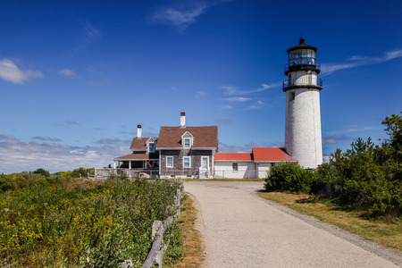 massachussets: TRURO-SEPTEMBER 14: Truro lighthouse architecture with blue sky and clouds in Truro,  Cape Cod , Massachussets, USA on September  14, 2014. Editorial