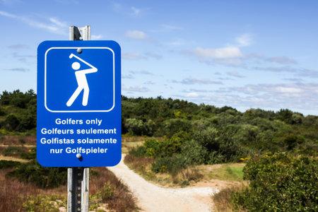 massachussets: TRURO-SEPTEMBER 14: Golfers only sign near Truro lighthouse in Cape Cod , Massachussets, USA on September  14, 2014.