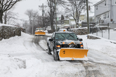 NORWALK,CT - JANUARY 27:  Car on West Cedar street after winter storm in Norwalk on January 2, 2015