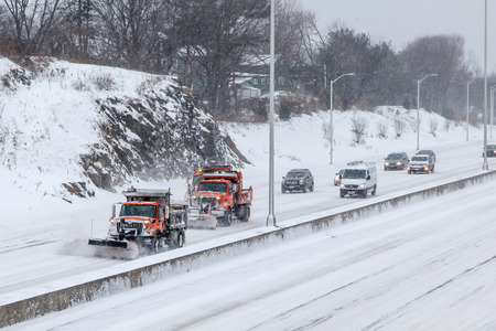 NORWALK,CT - JANUARY 27:  Plow car on I-95 after winter storm in Norwalk on January 27, 2015 Redakční