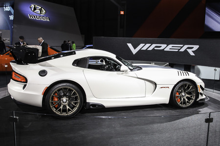 NEW YORK-MARCH 23: A Dodge Viper shown at the New York International Auto Show 2016, at the Jacob Javits Center. This was Press Preview Day one of NYIAS, and the Trade Show will be open to the public for ten days, March 25th through April 3rd. Sajtókép