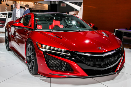 acura: NEW YORK- APRIL 12: Acura NSX shown at the New York International Auto Show 2017, at the Jacob Javits Center. This was Press Preview Day One of NYIAS, on April 12, 2017 in New York City Editorial