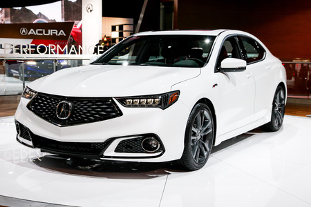 NEW YORK- APRIL 12: Acura TLX shown at the New York International Auto Show 2017, at the Jacob Javits Center. This was Press Preview Day One of NYIAS, on April 12, 2017 in New York City Editorial