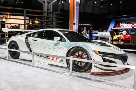 acura: NEW YORK- APRIL 12: Acura NSX GT 3 shown at the New York International Auto Show 2017, at the Jacob Javits Center. This was Press Preview Day One of NYIAS, on April 12, 2017 in New York City