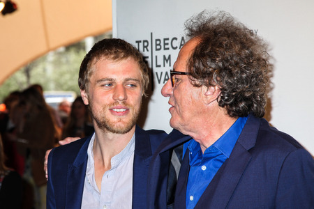 NEW YORK, NY - APRIL 20: Actors Johnny Flynn and Geoffrey Rush attend the Genius Premiere during the 2017 Tribeca Film Festival at BMCC Tribeca PAC on April 20, 2017 in New York City.