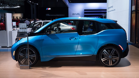 i3: NEW YORK- APRIL 12: BMW i3shown at the New York International Auto Show 2017, at the Jacob Javits Center. This was Press Preview Day One of NYIAS, on April 12, 2017 in New York City