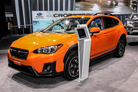 subaru: NEW YORK- APRIL 12: Subaru Crosstrek 2018 shown at the New York International Auto Show 2017, at the Jacob Javits Center. This was Press Preview Day One of NYIAS, on April 12, 2017 in New York City