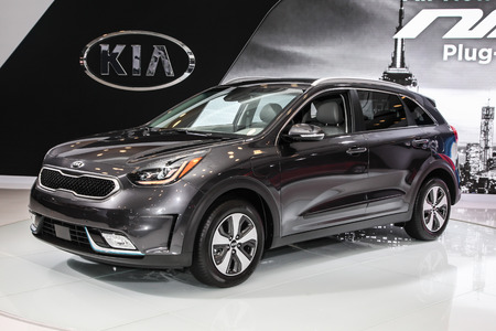 NEW YORK- APRIL 12: Kia Niro shown at the New York International Auto Show 2017, at the Jacob Javits Center. This was Press Preview Day One of NYIAS, on April 12, 2017 in New York City Editorial