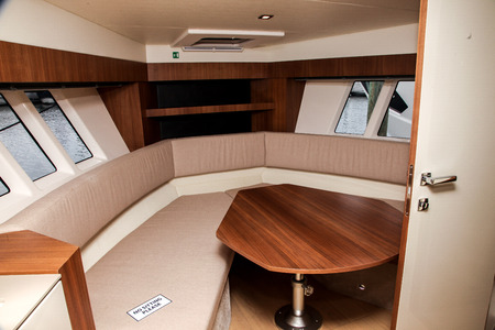 NORWALK, USA - SEPTEMBER 21, 2017: Absolute 40STL interior view from exhibit in Norwalk Boat Show 2017