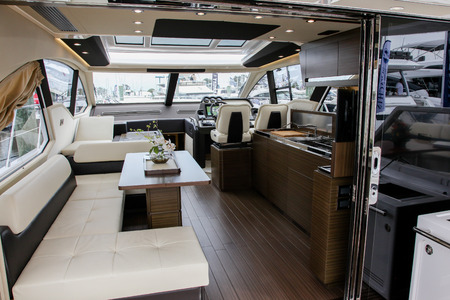 NORWALK, USA - SEPTEMBER 21, 2017: Azimut 55S view from exhibit in Norwalk Boat Show 2017 Redakční