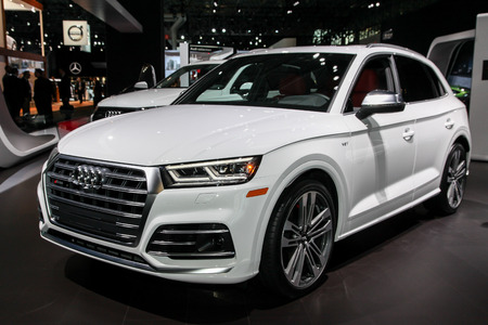 NEW YORK CITY-MARCH 28: 2018 Audi SQ5 shown at the New York International Auto Show 2018, at the Jacob Javits Center. This was Press Preview Day One of NYIAS, on March 28, 2018.