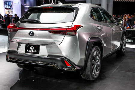 NEW YORK CITY-MARCH 28: Lexus UX 200 shown at the New York International Auto Show 2018, at the Jacob Javits Center. This was Press Preview Day One of NYIAS, on March 28, 2018.