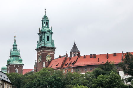 KRAKOW, POLAND - JULY 19, 2018: Beautiful historical architecture from Wawel Royal Castle in Krakow.