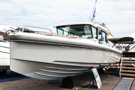 NORWALK, CT, USA-SEPTEMBER 20, 2018: Axopar boat is shown in Progressive Norwalk Boat Show 2018.