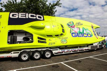 NORWALK, CT, USA-SEPTEMBER 20, 2018: Geico speed boat displayed on  Progressive Norwalk Boat Show 2018.