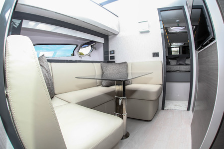 NORWALK, CT, USA-SEPTEMBER 20, 2018: Interior from Pershing 5X displayed by Allied Marine on  Progressive Norwalk Boat Show 2018.