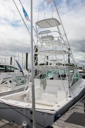 NORWALK, CT, USA-SEPTEMBER 20, 2018: Albemarle 36 displayed on  Progressive Norwalk Boat Show 2018.