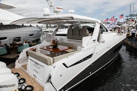 NORWALK, CT, USA-SEPTEMBER 20, 2018: Azimut 40 Verve displayed on  Progressive Norwalk Boat Show 2018. Editorial