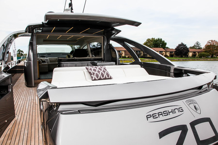 NORWALK, CT, USA- SEPTEMBER 21, 2017: Pershing 70 from Ferretti Group view in Progressive Norwalk Boat Show  2017. Editorial