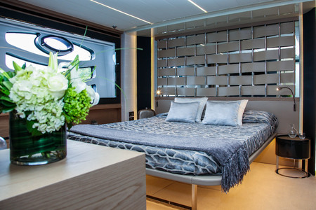 NORWALK, CT, USA- SEPTEMBER 21, 2017: Pershing 70 interior  from Ferretti Group view in Norwalk Boat Show 2017.