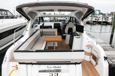 NORWALK, CT, USA - SEPTEMBER 21, 2017:  Leader 33 view from Jeanneau exhibit in Progressive Norwalk Boat Show 2017