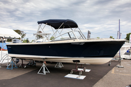 NORWALK, CT, USA-SEPTEMBER 22, 2018: Rossiter Day Boat shown at  Progressive Norwalk Boat Show 2018.