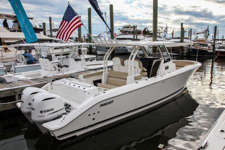 NORWALK, CT, USA-SEPTEMBER 22, 2018: Pursuit S 328 on  Progressive Norwalk Boat Show 2018.