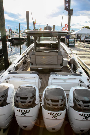 NORWALK, CT, USA-SEPTEMBER 22, 2018: Nor Tech boat shown at   Progressive Norwalk Boat Show 2018.