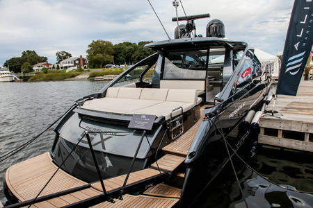 NORWALK, CT, USA-SEPTEMBER 22, 2018: Pershing 5X shown at  Progressive Norwalk Boat Show 2018.