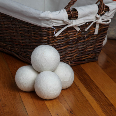 Dryer sheep ball on floor with basket