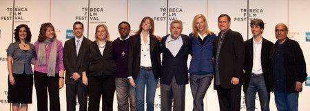 NEW YORK, NY, USA - APRIL 21,2009: John Hayes, Spike Lee, Jane Rosenthal, Robert De Niro, Uma Thurman in centre Tribeca Film Festival 2009 - opening day press conference at BMCC Tribeca Performing Art