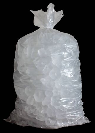 Plastic bag with ice and black background