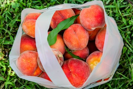 Fresh peaches inside plastic bag